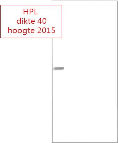 Scharnierende deur 40 mm HPL RAL9016 - 2015 mm hoog