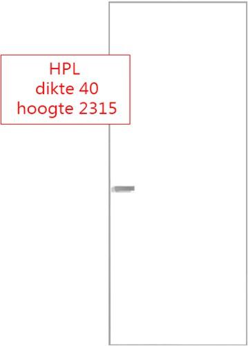 Scharnierende deur 40 mm HPL RAL9016 - 2315 mm hoog